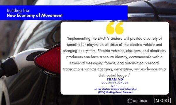 MOBI Announces the First Electric Vehicle Grid Integration Standard on Blockchain in Collaboration with Honda, PG&E, and GM Among Others